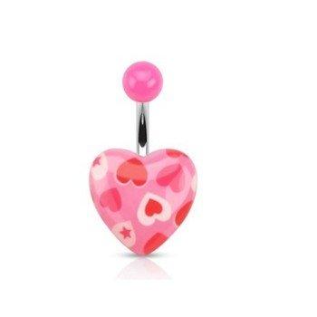 Bauchpiercing Herz in pink