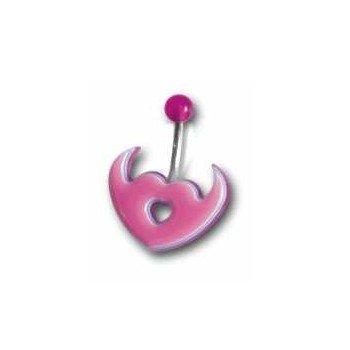 Bauchnabelpiercing pink aus Kunststoff