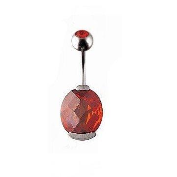 Edles Bauchnabelpiercing mit roten Stein