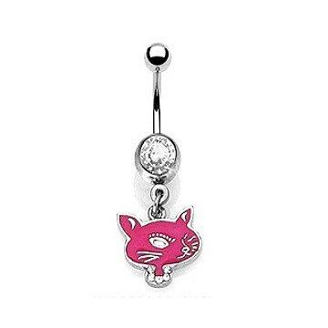 Bauchnabelpiercing Katze pink