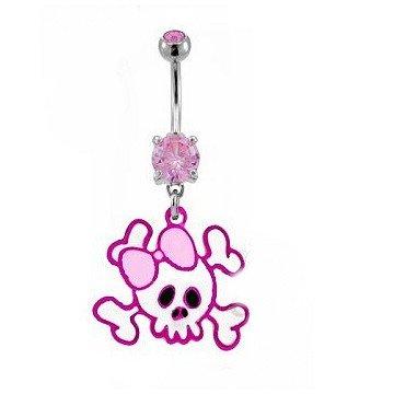 Skull Bauchnabelpiercing in pink