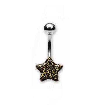Bauchnabelpiercing Stern im Leopardenstyle