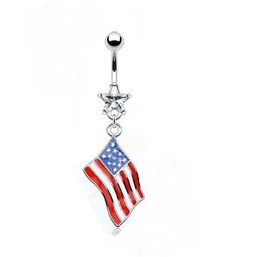 Bauchnabelpiercing  Flagge USA