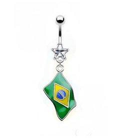Bauchnabelpiercing Brasilien Flagge