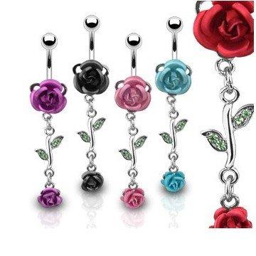 Rosen Bauchnabelpiercing - 5 Farben
