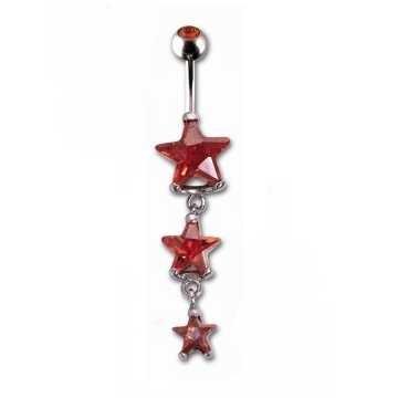 Bauchpiercing Stern in rot