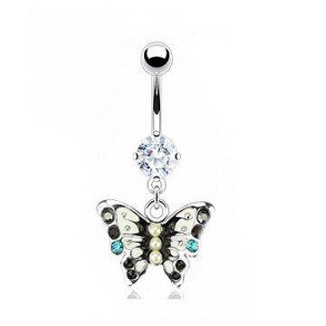 Bauchpiercing Schmetterling mit Perlen