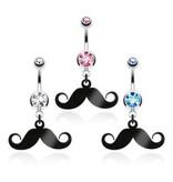 Mustache Bauchnabelpiercing - 3 Farben