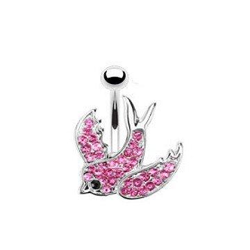 Bauchnabelpiercing Schwalbe - pink