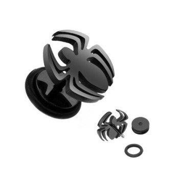 Fakeplug Spinne in schwarz aus Chirurgenstahl