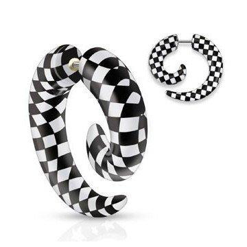 Fake Spirale mit Karo Schwarz-Weiß