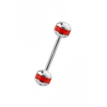 Zungenpiercing mit roten Streifen