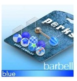 Zungenpiercingset mit blauen Aufsätzen