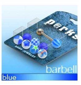 Zungenpiercingset blau