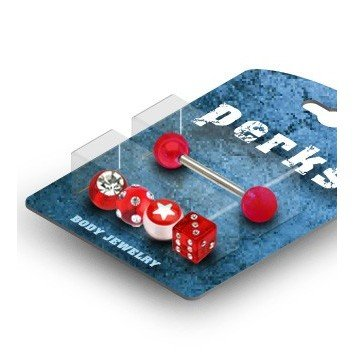 Set für Zungenpiercing in rot