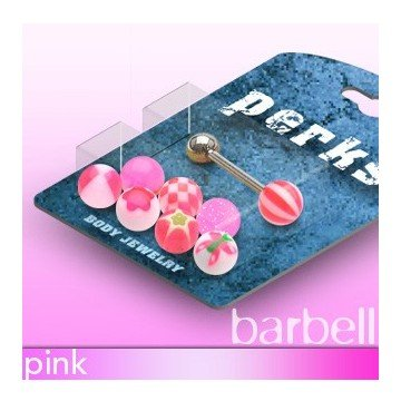 Pinkes Piercingset für die Zunge