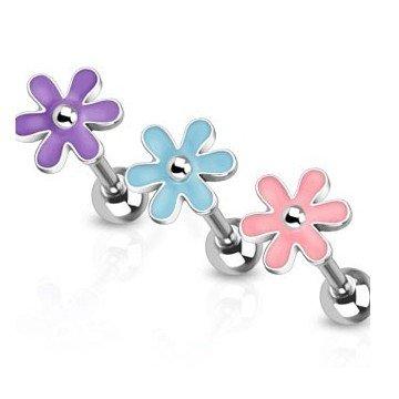 Blumen Zungenpiercing - 3 Farben