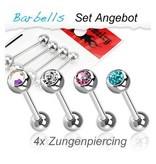 Zungenpiercing Set - 4 Piercing