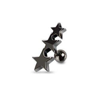 Traguspiercing Sterne schwarz