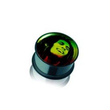 Acryl Plug Bob Marley in Schwarz