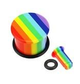 Acryl Plug Rainbow mit Gummiring