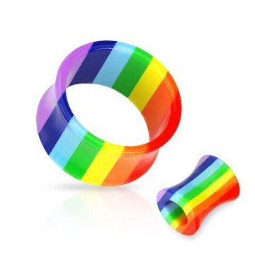 Fleshtunnel Regenbogen aus Kunststoff