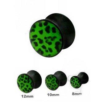 Acryl Plug - Grünes Leopardenmuster