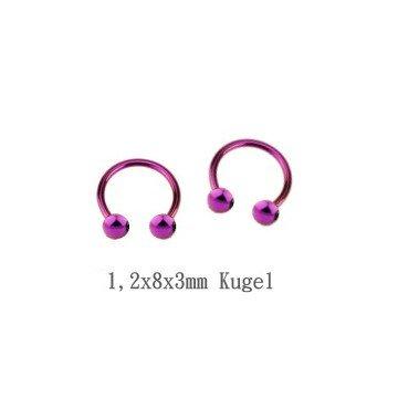 Lippenpiercing violett - 1,2 mm