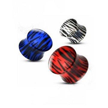 Acryl Plug Zebra in Rot, Weiß und Blau