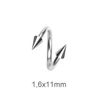 Spirale 1,6 mm mit zwie Piercing-Kegeln