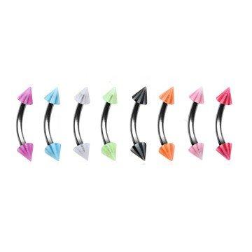 Augenbrauenpiercing mit Kegeln - 8 Farben