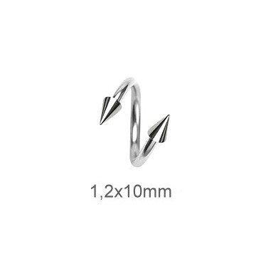 Piercingspirale 1,2 mm mit Kegeln
