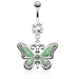Schmetterling Bauchpiercing grün