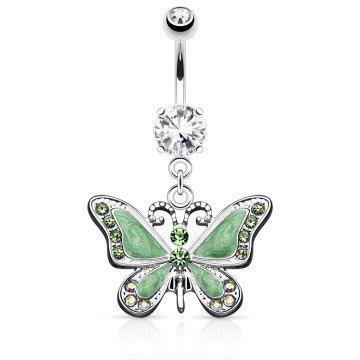Schmetterling Bauchnabelpiercing in grün