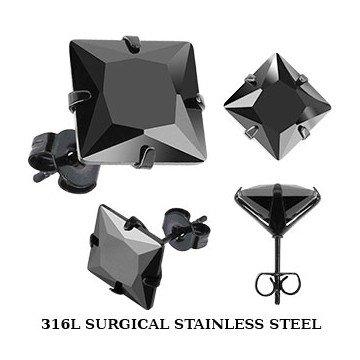 edelstahl ohrstecker schwarz m nner ohrringe piercing. Black Bedroom Furniture Sets. Home Design Ideas