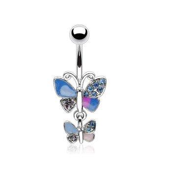 Bauchnabelpiercing Schmetterling blau