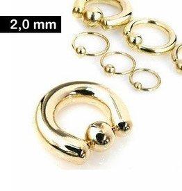 Goldfärbiger Piercingring 2 mm
