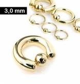 3 mm Piercing Ring goldfärbig