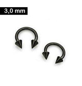 3 mm schwarzer Piercingring