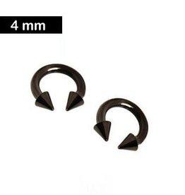4 mm Piercingring mit Kegeln