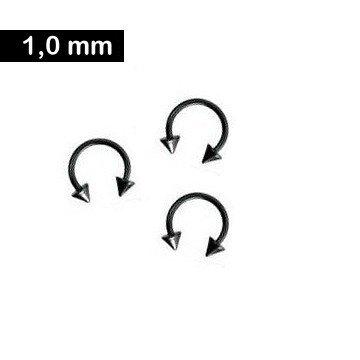Piercingring 1,0 x 10 mm - schwarz