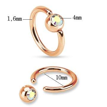 Piercing-Ring 1,6 x10 mm mit Stein