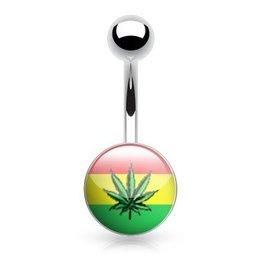 Bauchnabelpiercing Hanfblatt Jamaica