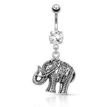 Elefant Bauchnabelpiercing mit kristall Stein