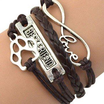 Freundschaftsarmband Infinity & Hundepfote braun