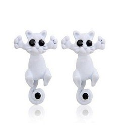 1 Paar CAT 3D Ohrringe Katze weiß