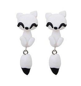 1 Paar Weiße 3D Ohrstecker Katze