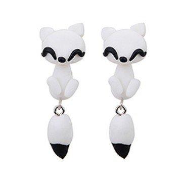 3D Ohrstecker Katze weiß - 1 Paar