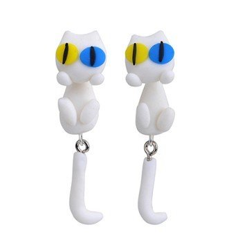 3D Ohrstecker Katze weiss - 1 Paar