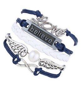 Weiss-Blaues Freundschaftsarmband Infinity -Love - Believe